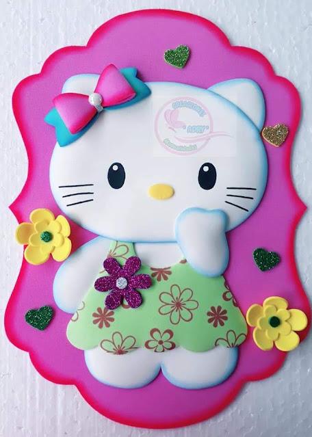 Molde Aplique gatinha Hello Kitty para imprimir Artes em EVA
