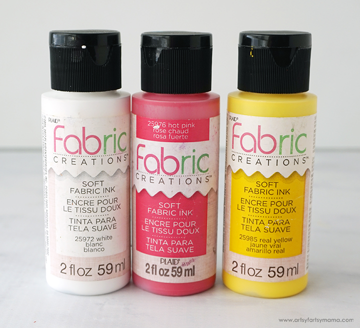 White Pink Yellow Fabric Paints