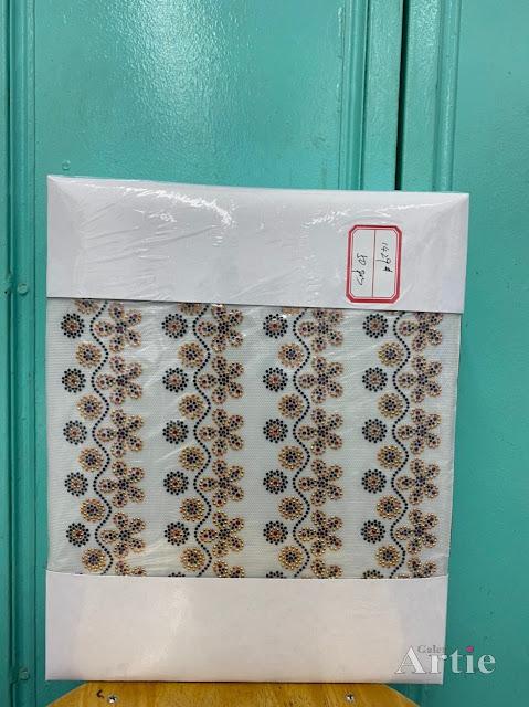 Hotfix stickers dmc rhinestone aplikasi tudung bawal fabrik pakaian bunga 5 kuntum dengan bunga kecil gold maroon