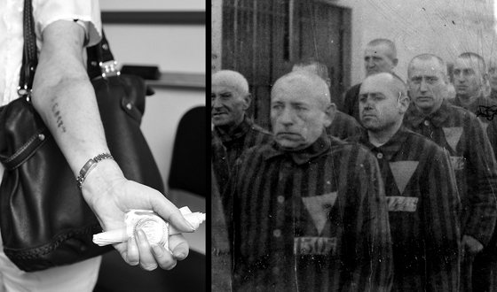 Left: Holocaust survivor Rose Schindler shows shows the prisoner number tattoo on her arm. We can't thank IBM for  that ID system. Right: Prisoners in the concentration camp at Sachsenhausen, Germany, December 19, 1938. (Left and Right Photos from Wikimedia Commons)