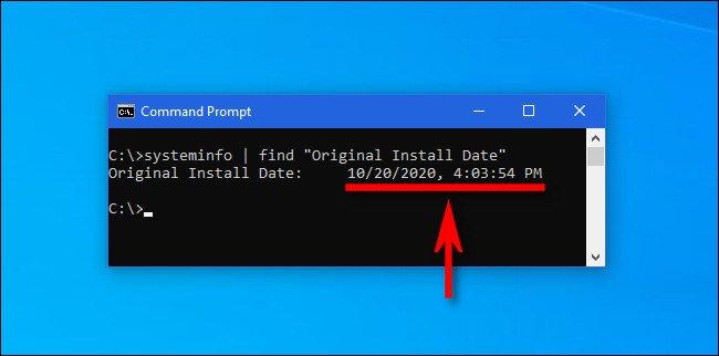 """اكتب الأمر """"systeminfo"""" في موجه أوامر Windows للحصول على تاريخ تثبيت التحديث الرئيسي الأخير."""