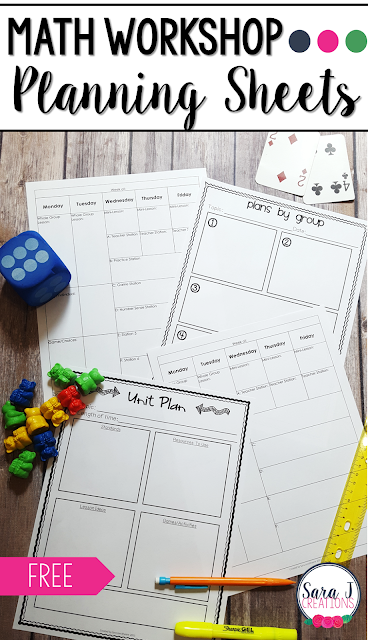 Free planning sheets for Math Workshop for signing up for the FREE 5 day email series to answer your burning questions about setting up Math Workshop in your elementary classroom!
