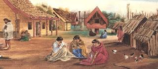 Poblado maorí, con varias mujeres tejiendo cestas y prendas de lino