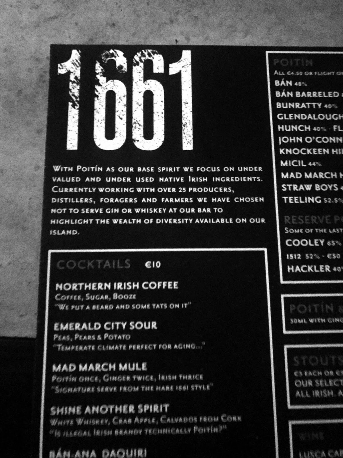 Stitch & Bear - Ban Poitin Bar 1661 - Menu