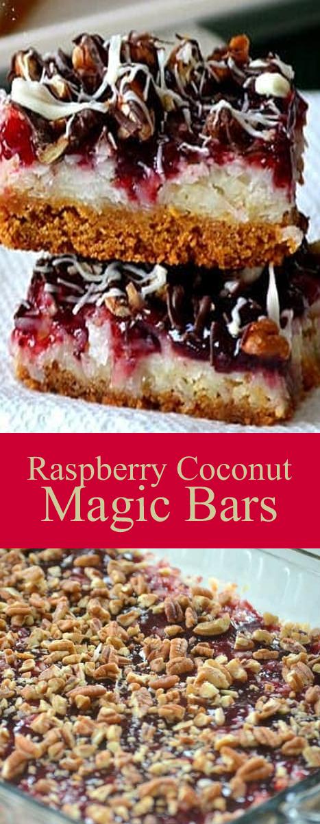 Recipe Raspberry Coconut Magic Bars #bars #cookies