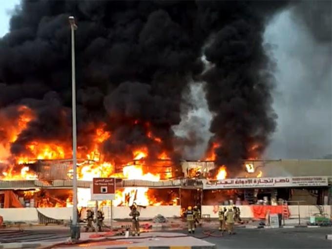 Fire engulfs Ajman market in Dubai, UAE (video)