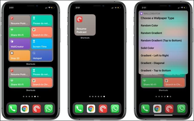 أدوات الاختصارات على ثلاثة أجهزة iPhone.
