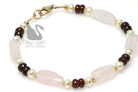 Rhodolite Garnet Rose Quartz Gemstone Beaded Bracelet (B180) -Marsala Pantone's Color of the Year 2015
