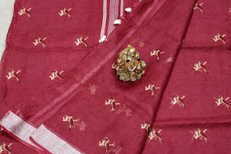 Pure Lenin Sarees with embroidery work
