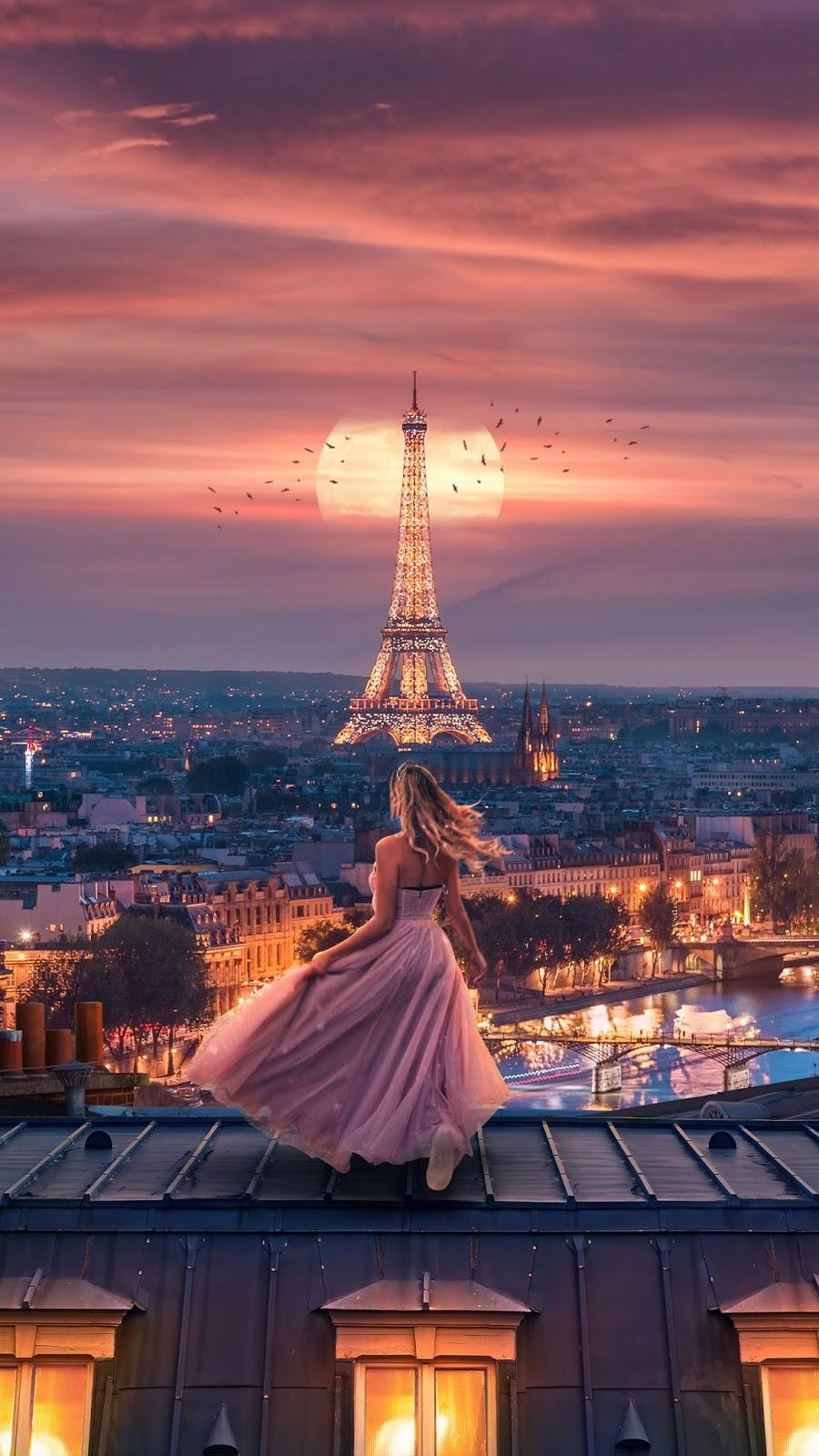 Moonlight over paris mobile wallpaper