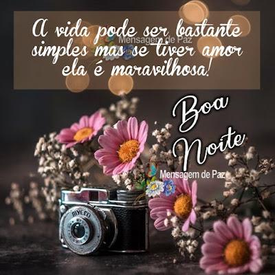A vida pode ser bastante simples mas se tiver amor ela é maravilhosa! Boa Noite!