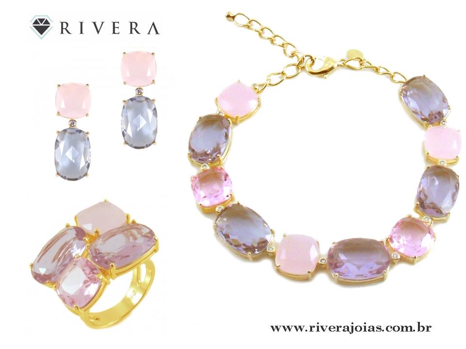 Brinco folheado a ouro 18k  Com pedras naturais rosa e lilás (Cristais de quartzo e ametista).  Comprimento 2,8 cm.  Leve e anti-alérgico.