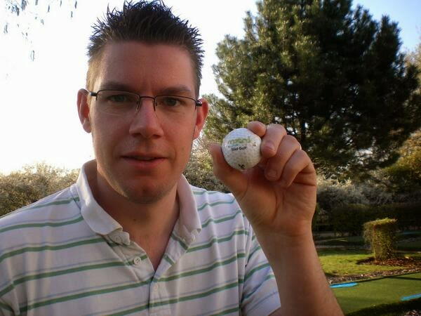 Richard Gottfried with a Metro Golf Centre Mini Golf branded golf ball on a visit to play the 9-hole course in Barnet in 2010