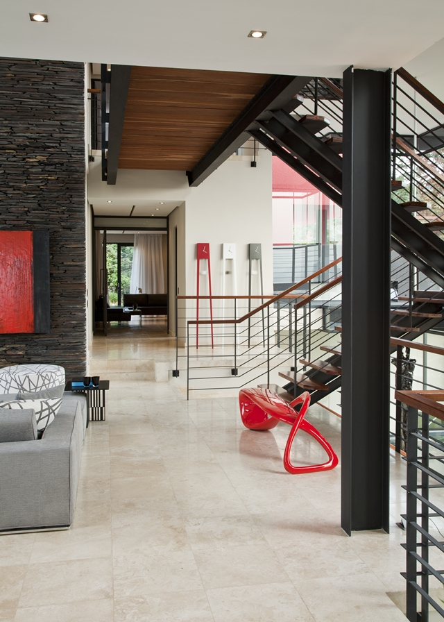Picture of red sculpture by the staircase