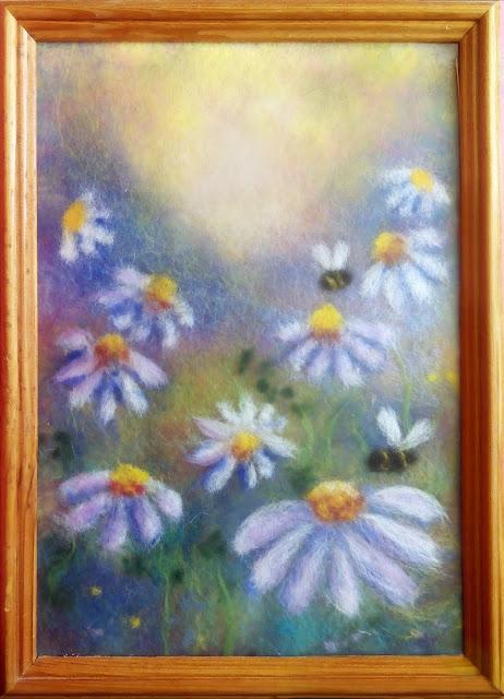 """рисунок - картина шерстью """"ромашковое поле"""""""