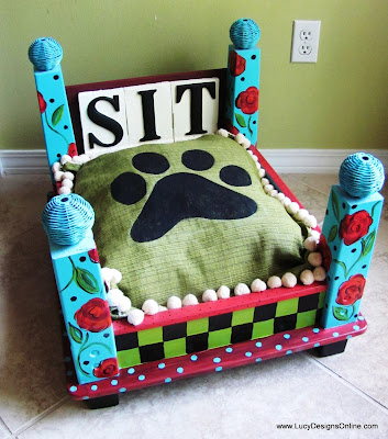 hand painted flower dog bed with checks