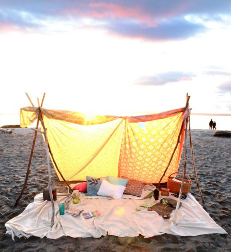 Summer coastal beach tent