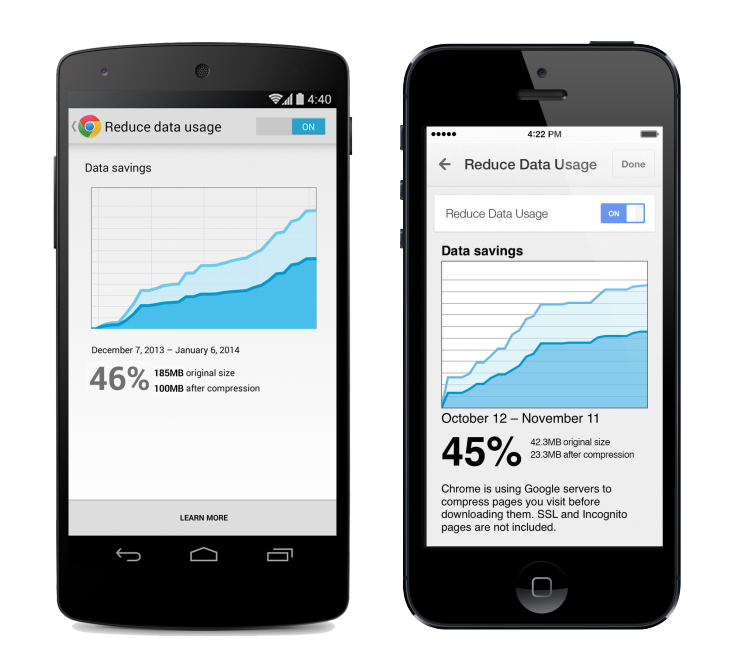 Speed up Internet Browsing by Reducing/Compressing the Data Usage in Google Chrome Android Mobile Browser