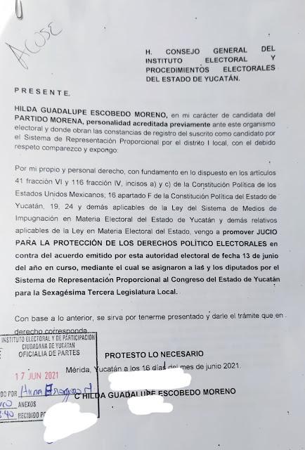 La candidata de Morena, Hilda Escobedo Moreno acusa que fueron rellenados a favor de Karen Achach, del PAN, y pide su apertura