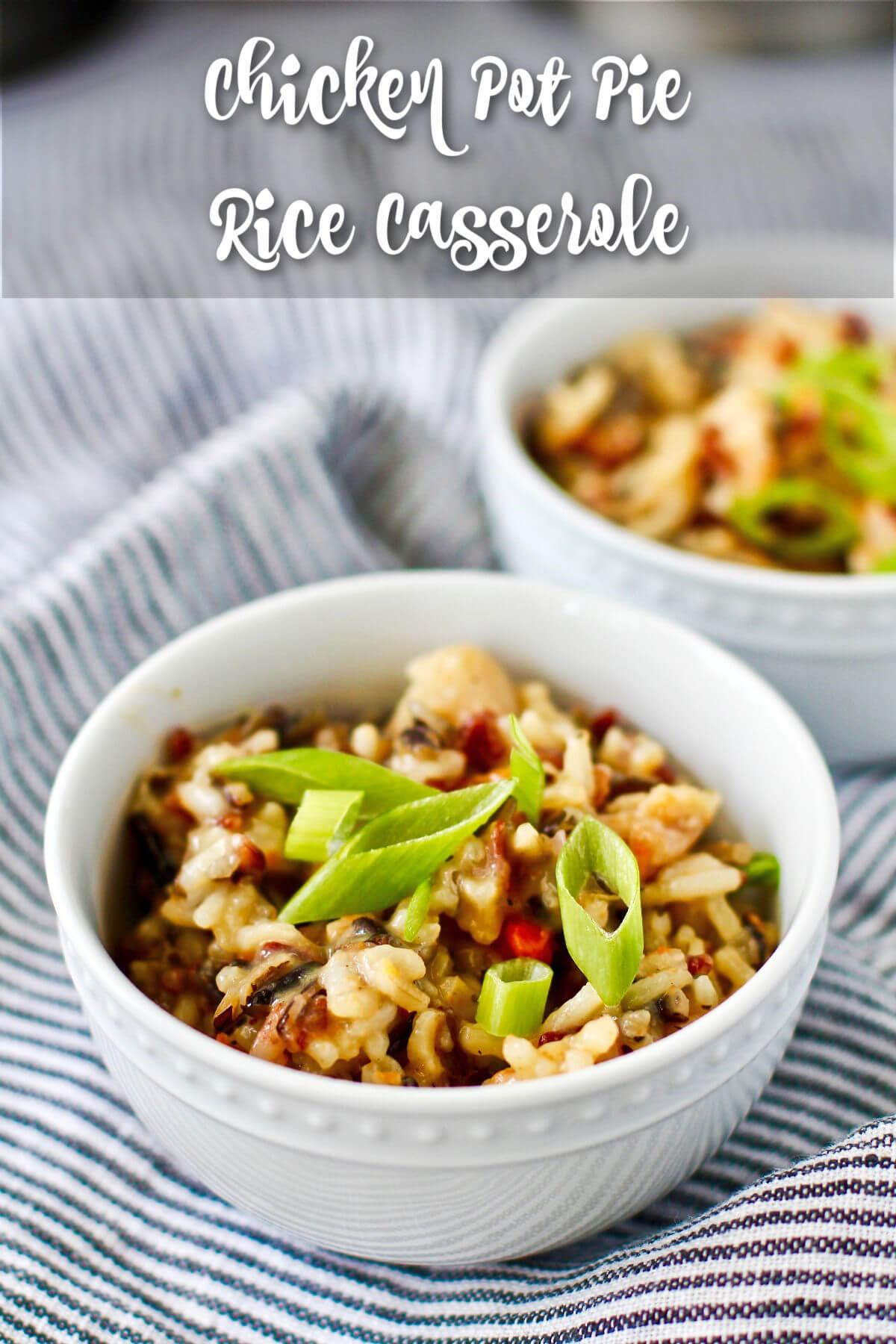 Leftover Chicken Pot Pie Soup Rice Casserole.