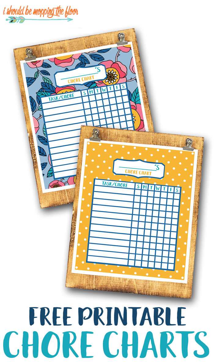 Two Free Printable Chore Chart Designs