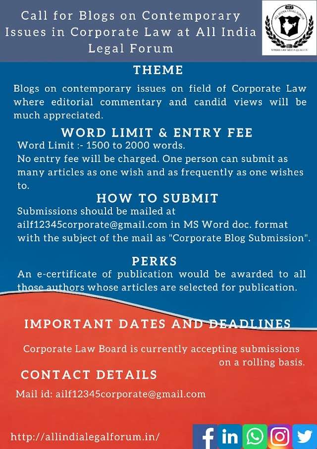 [Call for Blogs] for Corporate Law Board of All India Legal Forum [Submission on Rolling Basis]