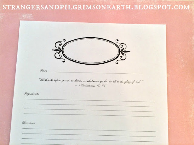 Strangers  Pilgrims on Earth Free Recipe Sheets ~ 3 Different
