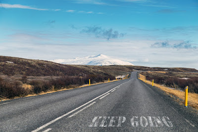 Scenic country road in Iceland leading to Akureyri