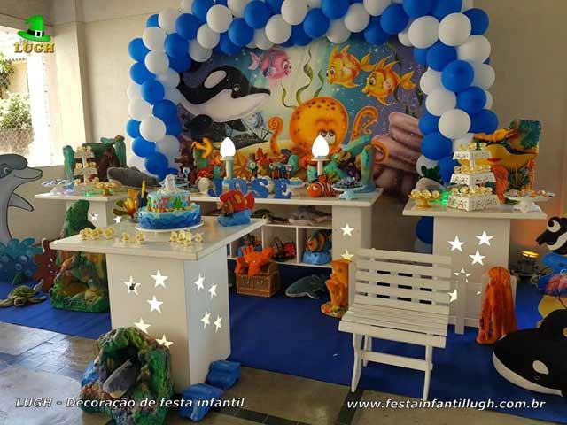 Decoração tema Fundo do Mar, aniversário infantil