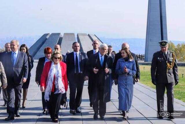 El presidente griego visita el Tsitsernakaberd