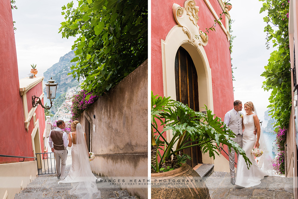 Wedding portrait in Positano alley