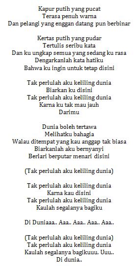 Lirik Lagu Gita Gutawa Tak Perlu Keliling Dunia (Ost Laskar Pelangi)