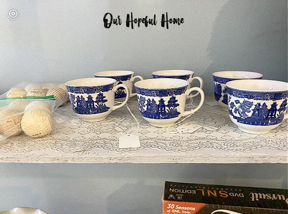 Delft blue willow tea cups thrift store