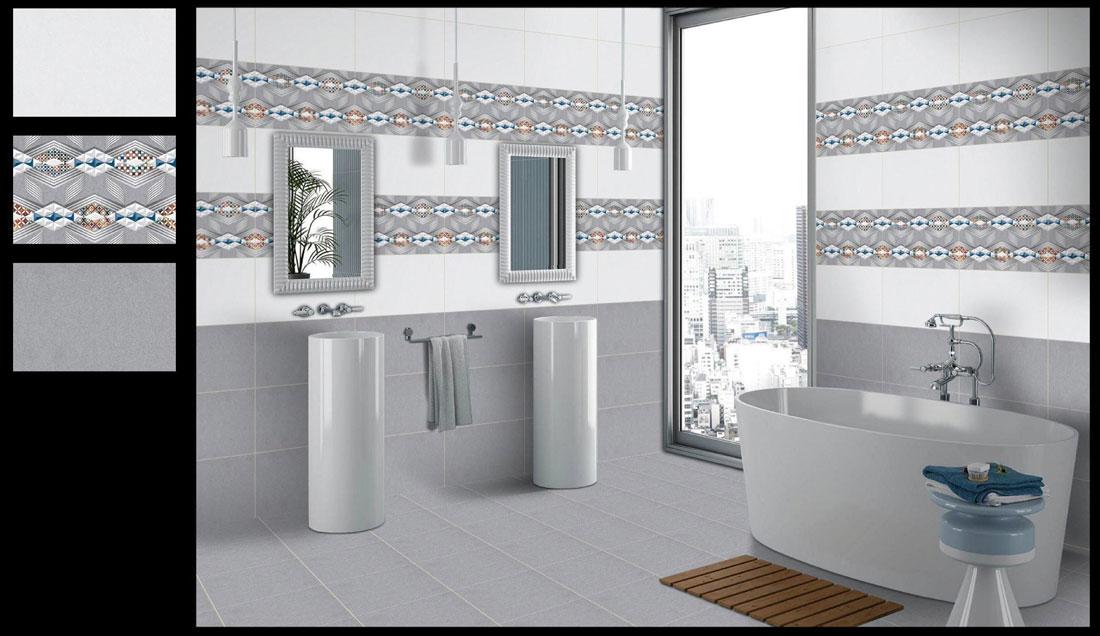 Polished bathroom tiles