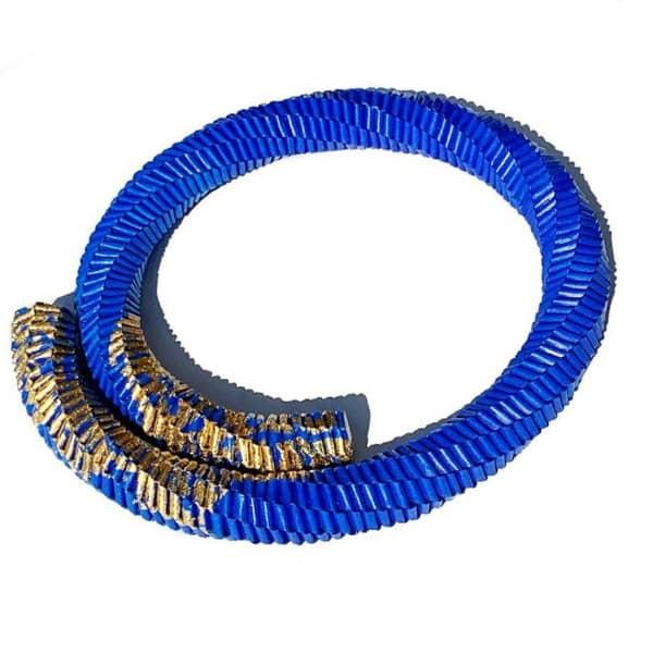 royal blue and gold leaf folded paper bracelet
