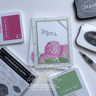By Angie McKenzie for Around the World on Wednesday Blog Hop; Click READ or VISIT to go to my blog for details! Featuring the Hydrangea Haven Photopolymer Stamp Set found in the 2021-2022 Annual Catalog by Stampin' Up!®; #caseateammember #stamping #aroundtheworldonwednesdaybloghop #awowbloghop #hydrangeahaven #hydrangeas #pinkhydrangeas #naturesinkspirations #maskingtechnique #diycrafts #makingotherssmileonecreationatatime #cardtechniques #stampinup #handmadecards #stampinupcolorcoordination #simplestamping #fussycutting #papercrafts #vellumlayer