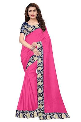 Bhagalpuri Silk Lace Work Solid Saree, saree