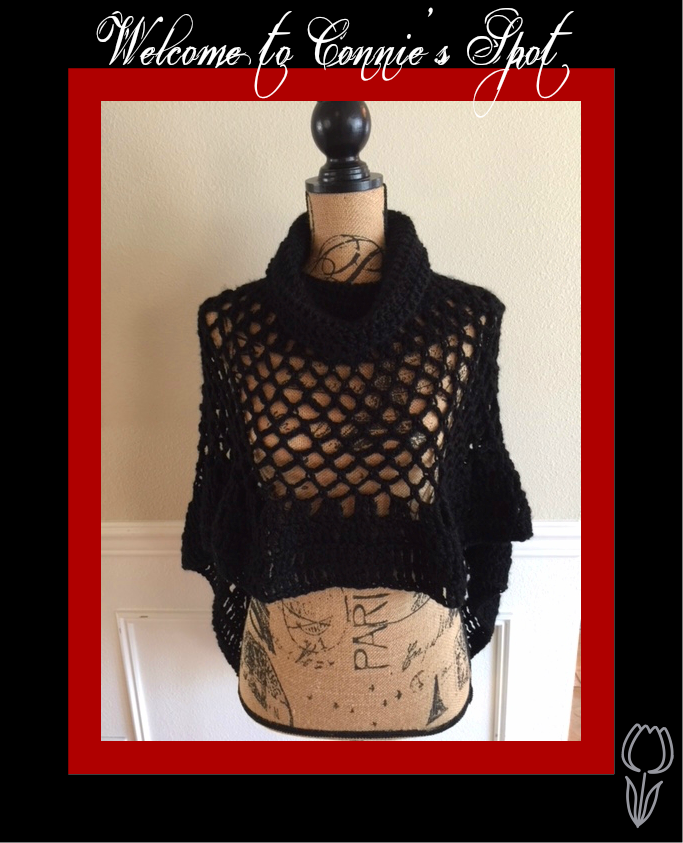 Crochet Black Lacey Poncho© (1-Only)