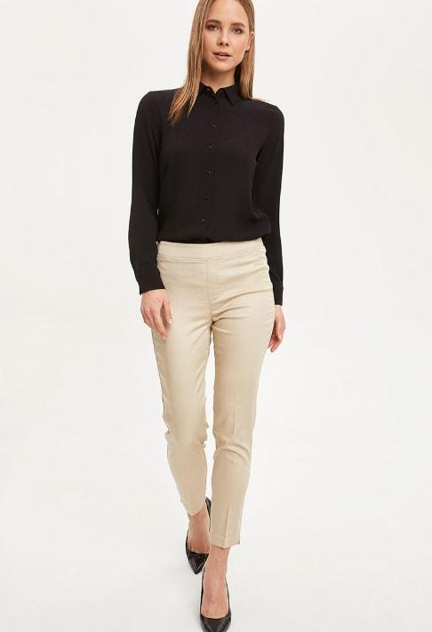 Pantaloni crop slim fit eleganti bej din bumbac