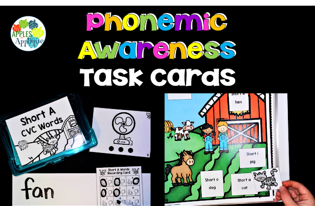 Phonemic Awareness Task Cards for CVC Words | Apples to Applique