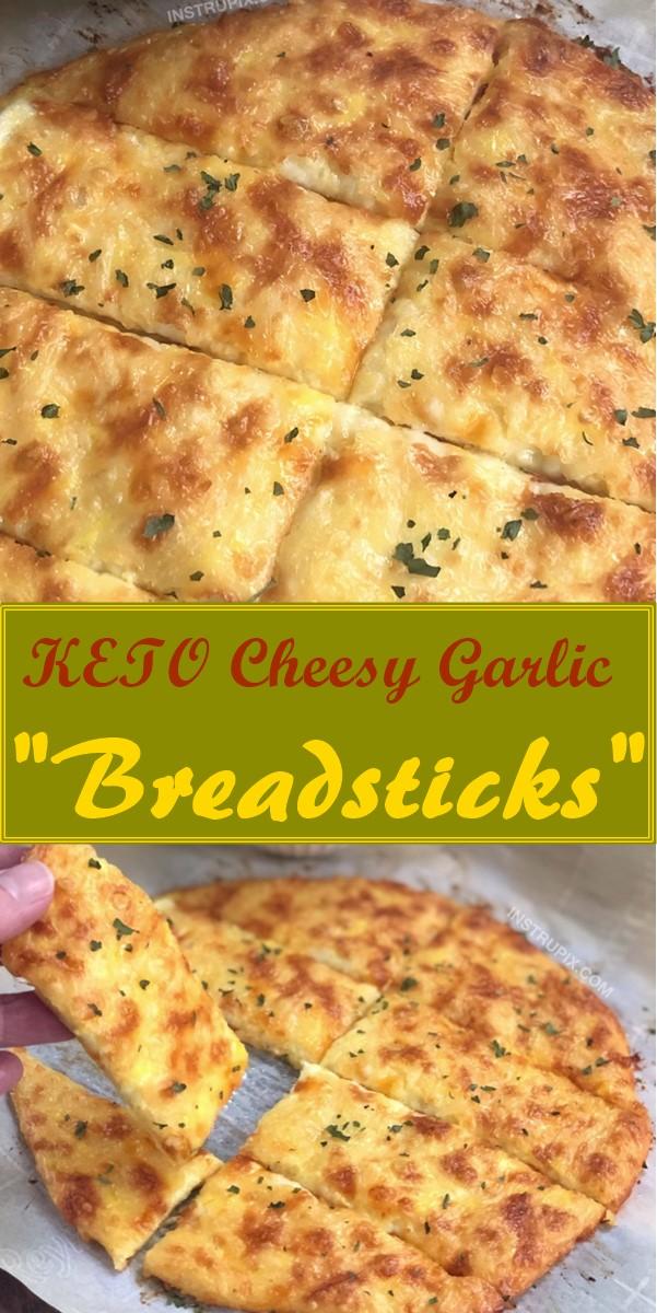 """KETO Cheesy Garlic """"Breadsticks"""" (4 Ingredients) #ketorecipes"""
