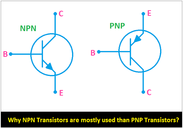 Why NPN Transistors are mostly used than PNP Transistors