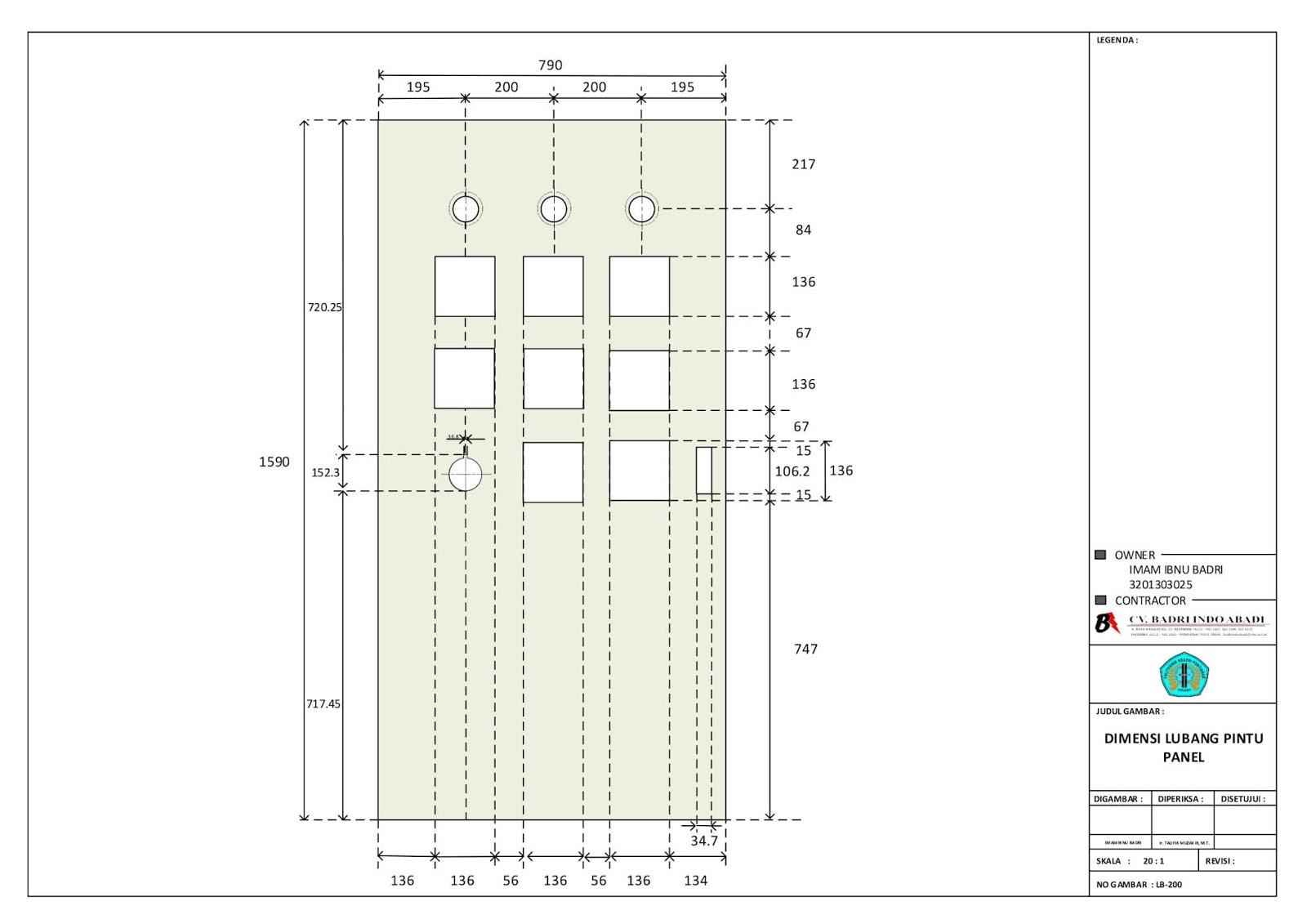 Dimensi Lubang Pintu Panel
