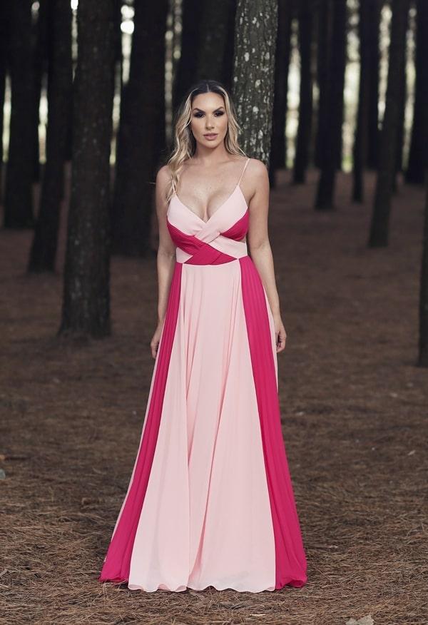 vestido longo pêssego