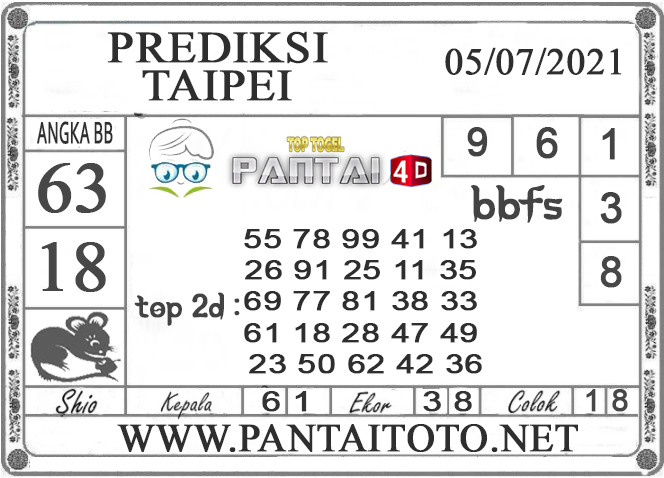 PREDIKSI TOGEL TAIPEI PANTAI4D 05 JULI 2021