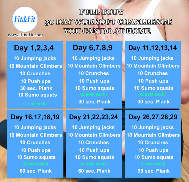 30 Day Workout Challenge Plan