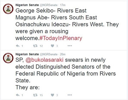 See Names of the Three New Senators From Rivers State Sworn-in to the Senate Today
