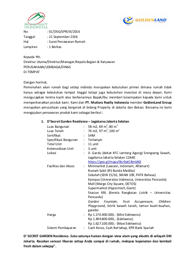Komunikasi Bisnis Contoh Surat Penawaran
