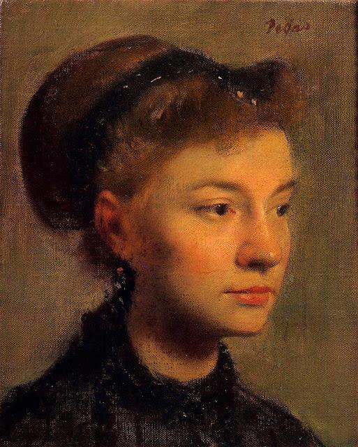 Эдгар Дега - Голова молодой женщины (ок.1867)
