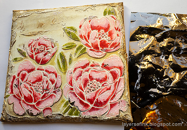 Layers of ink - Peony Mixed Media Canvas Tutorial by Anna-Karin Evaldsson. Add foiling.